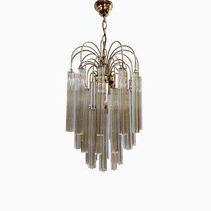 Lámpara de araña italiana Mid-Century de cristal de Murano blanco y amarillo de Paolo Venini, años 70