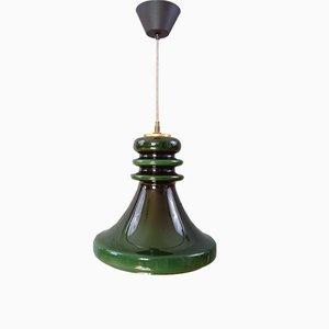 Lámpara colgante vintage grande de vidrio verde, años 70