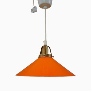 Vintage Orange Coolie Pendant Lamp, 1970s