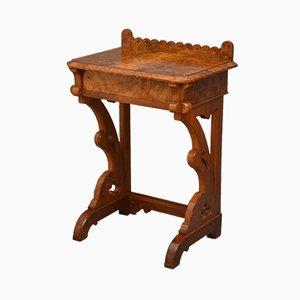 Table Console Néo-Gothique Antique en Loupe de Noyer