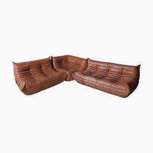 Sofás Kentucky vintage de cuero marrón de Michel Ducaroy para Ligne Roset, años 70. Juego de 3