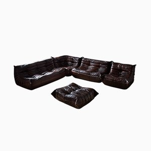 Vintage Togo Brown Leather Modular Sofa and Ottoman Set by Michel Ducaroy for Ligne Roset, 1980s