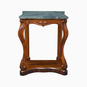 Antique Early Victorian Goncalo Alves Marble Console Table