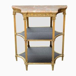 Consola victoriana antigua de madera dorada y mármol