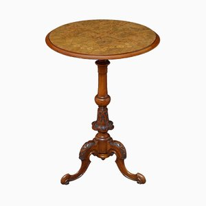 Table Console Victorienne Antique en Noyer et Bois de Satin