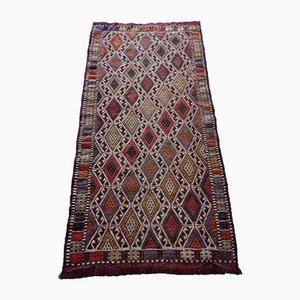 Alfombra kilim turca pequeña con motivos geométricos, años 70