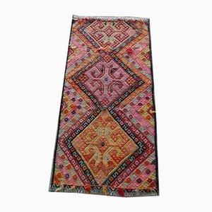 Alfombra kilim vintage con motivos geométricos, años 70