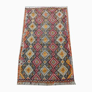 Small Yellow Diamond Oushak Kilim Rug, 1970s