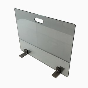 Tempered Glass Fire Place Screen with Brushed Steel Feet, 1970s