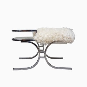 Mid-Century Brutalist Chrome Telephone Bench, 1970s