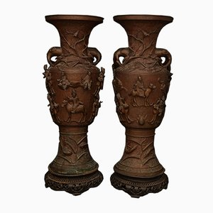 Large Antique Japanese Bronze Vases, 1870s, Set of 2