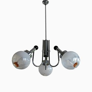 Vintage Chromed 3-Glass Globe Chandelier