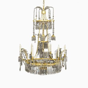 18th-Century German Crystal & Brass Chandelier, 1790s