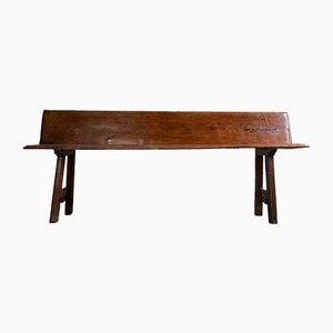 Vintage Italian Rustic Walnut & Wooden Bench, 1920s