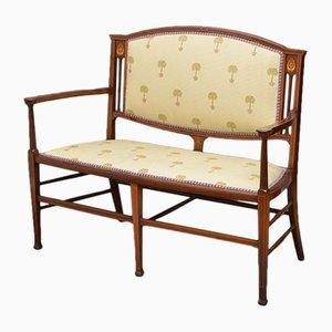 Antike Jugendstil Sitzbank aus Mahagoni