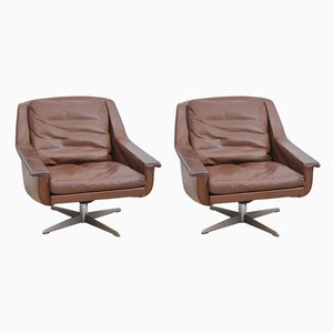 Brown Leather Lounge Chairs, 1960s, Set of 2
