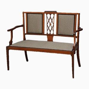 Antike edwardianische Sitzbank aus Mahagoni mit Intarsien