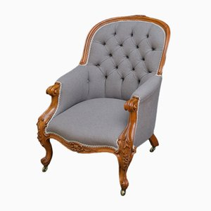 Antique Victorian Walnut Spoonback Armchair