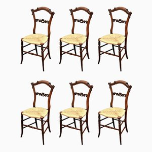 Antique Early Victorian Rosewood Dining Chairs, Set of 6