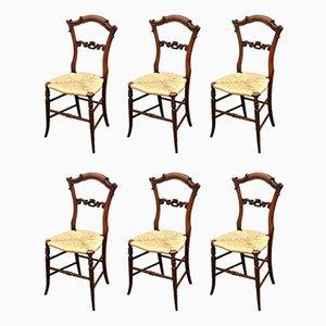 Sillas de comedor antiguas victorianas de palisandro. Juego de 6
