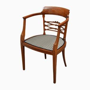Antiker edwardianischer Stuhl aus Mahagoni mit Intarsien
