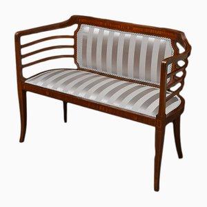 Antike edwardianische Sitzbank aus Mahagoni