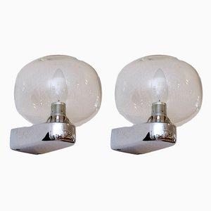 Wandlampen aus verchromtem Metall & Glas, 1960er, 2er Set