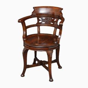 Chaise de Bureau Pivotante Victorienne Antique en Acajou