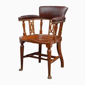 Chaise de Bureau Victorienne Antique en Acajou