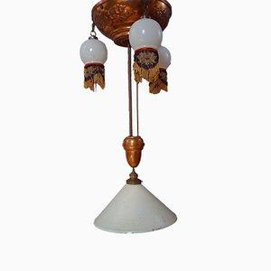 Grand Plafonnier Art Nouveau Antique en Cuivre et Verre Opalin