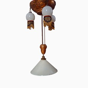 Large Antique Art Nouveau Copper and Opaline Glass Ceiling Lamp