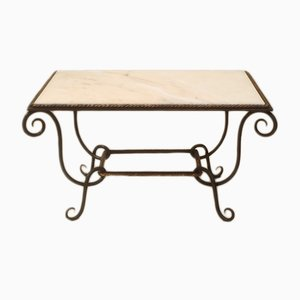 Vintage Wrought Iron & Marble Coffee Table from René Prou
