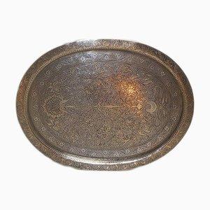 Großes Vintage Tablett aus Messing & Silber