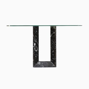 Italian Marquina Marble Console with Glass Top from Fontana Arte, 1980s