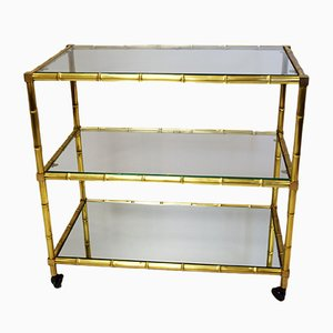 Italian Brass & Crystal Bar Trolley, 1950s
