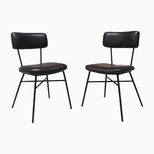 Black Skai and Steel Chairs, 1950s, Set of 2