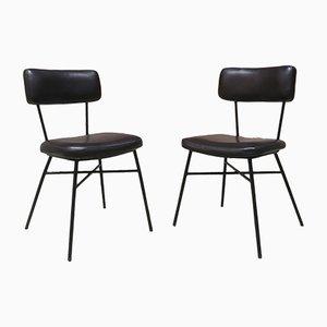 Stühle mit schwarzem Sitz aus Skai & Stahlgestell, 1950er, 2er Set