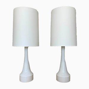 Lampes de Bureau en Verre Opalin, Suède, 1960s, Set de 2