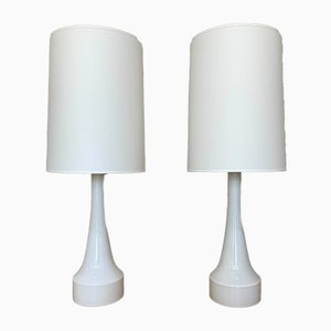 Swedish Opaline Glass Table Lamps, 1960s, Set of 2
