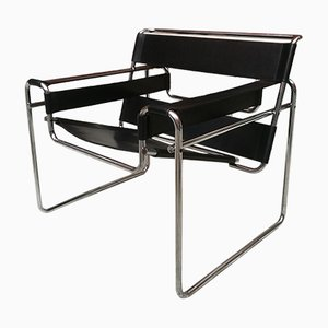 Black Leather B3 Wassily Armchair by Marcel Breuer for Gavina, 1968