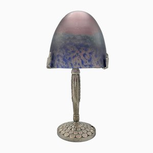 French Art Deco Lamp with Pate de Verre Art Glass Shade by Tief, 1930s