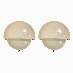 Mid-Century Murano Opaline Glass Sconces by Vico Magistretti for Artemide, 1960s, Set of 2