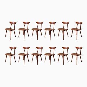 Vintage Scandinavian Bistro Chairs from Hiller, 1950s, Set of 12
