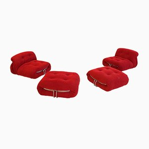 Soriana Slipper Chairs & Ottomans by Tobia & Afra Scarpa, 1970s, Set of 2