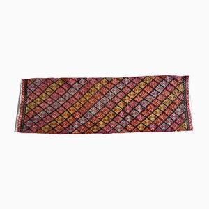 Kilim pequeño tejido a mano y trenzado, años 70