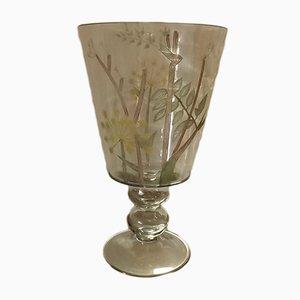 Vase Antique Marron en Verre Soufflé