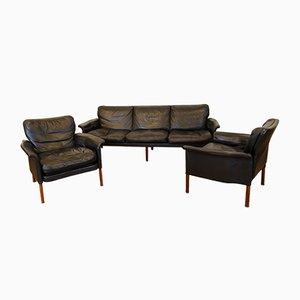 Sofa & 2 Sessel aus Anilinleder und Palisander von Wittmann, 1960er