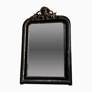 Großer antiker französischer Napoleon III Spiegel mit gold-schwarzem Rahmen