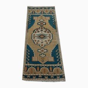 Alfombra turca vintage en azul, años 70