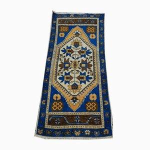 Blauer türkischer Vintage Oushak Teppich, 1970er